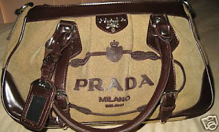 9fc6a5195b90 ... wholesale prada milano authentic canvas handbag with leather trim. with id  tag approximately 15 w x