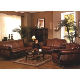 Leather Living Room  on Pcs Convington Living Room Furniture Set In Brown Leather Finish