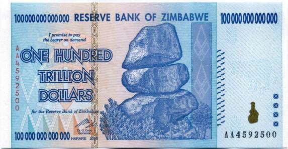 Zimbabwe 50 Billion Dollars And 100 Trillion Notes