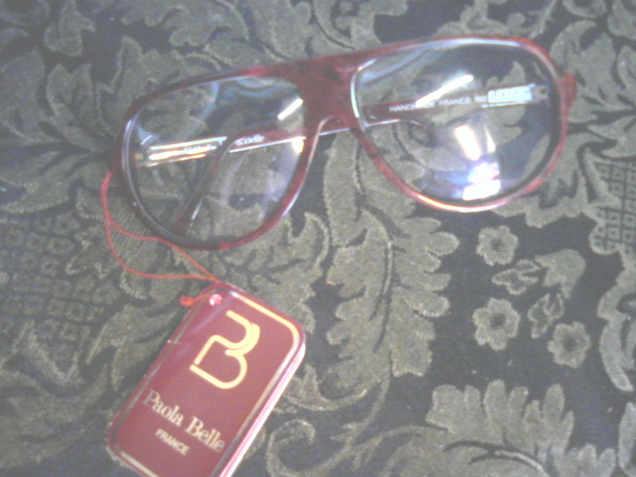 88807e1d89c9 These are vintage, mint condition, un-worn, French made Paola Belle specs  in a beautiful burgundy marble color. They have the PB gold colored detail  on ...