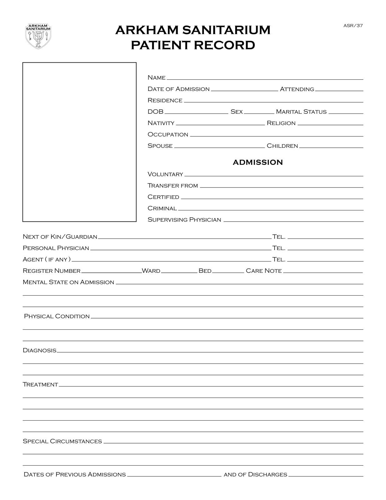 Medical Records Release Form Lawdepot Propnomicon Arkham Sanitarium Patient Record
