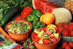 Fruit and vegetables are high in vitamin C which raises HDL cholesterol