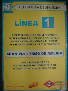 Restablecido el servicio en línea 1 entre Tirso de Molina y Gran Vía