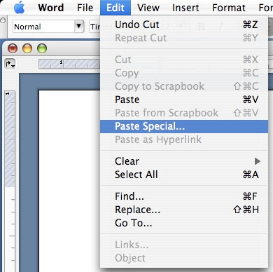 how to set match destination formatting in word mac