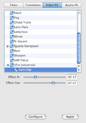 A new mac tip every day rotating a clip in imovie 06 it is under video fx the effect in and effect out will let you choose when you want it to be rotated it will fade in and out of the rotation ccuart Images