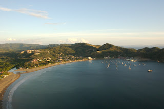 view of the san juan del sur harbor from above