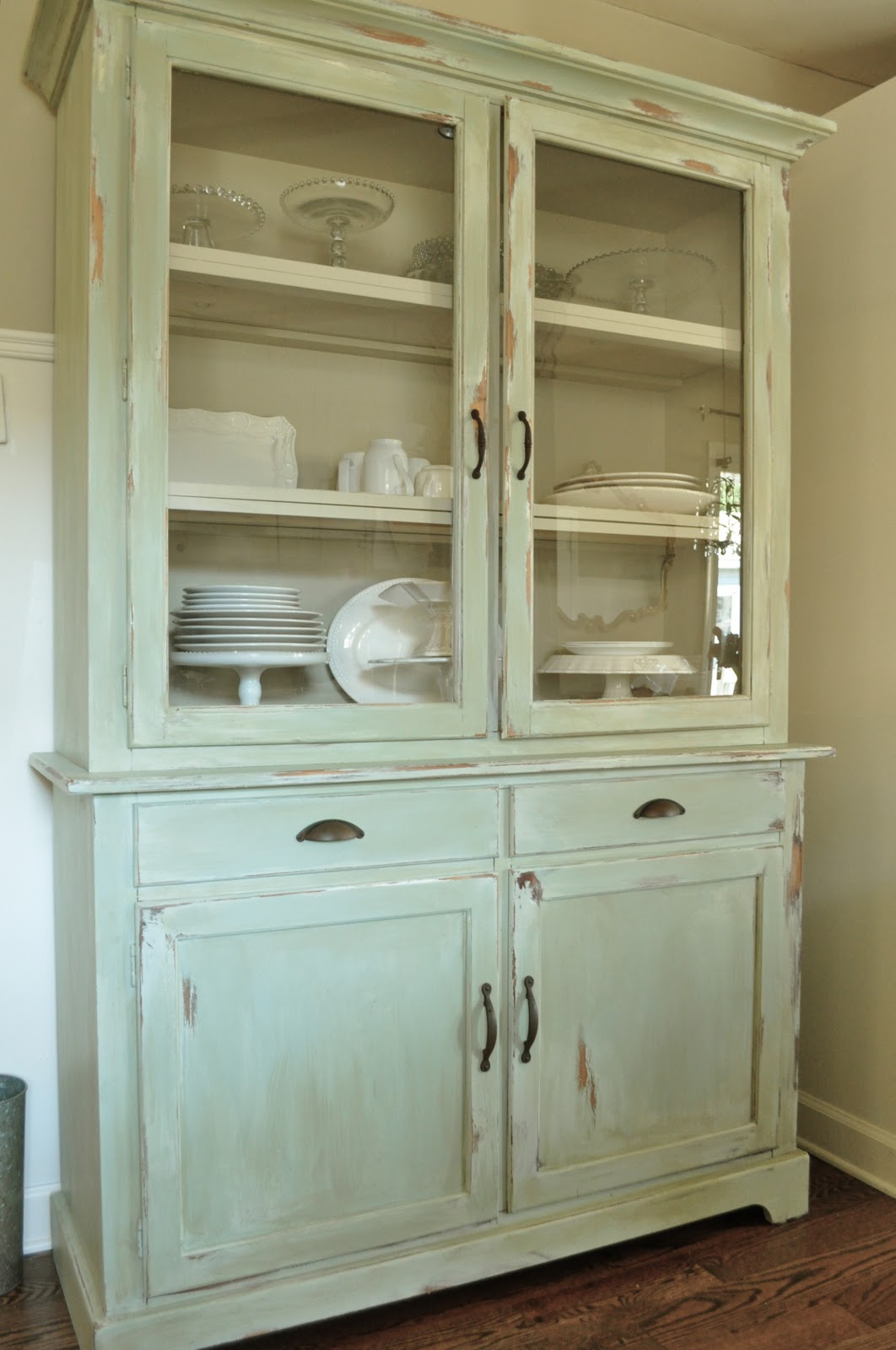kitchen hutch revealbefore and after kitchen hutch cabinets how to make a new peice of furinture look old with paint and distressing