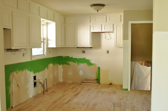 painted upper cabinets