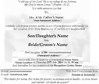 Christian Marriage Cards Example Sarkari Naukri