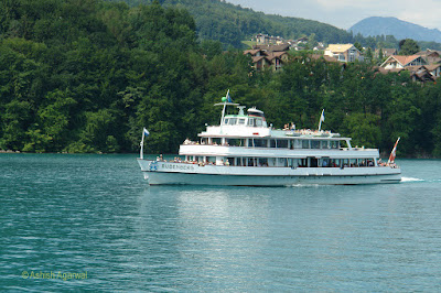 A cruise ship similar to the one on which we were traveling on Lake Thun