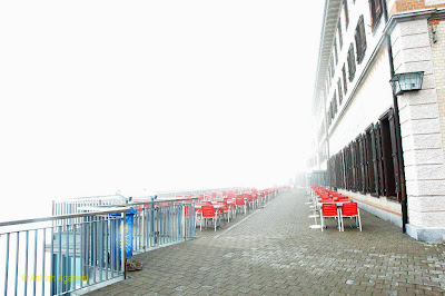 Open air restaurant at Mount Pilatus - not possible because of wind, cold and fog