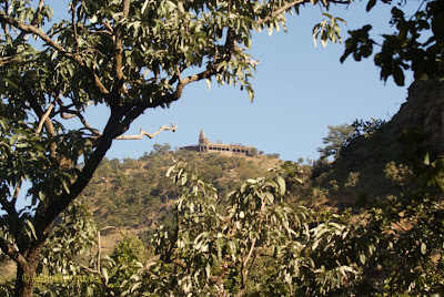 View of Chauragarh Temple, situated far away on the top of a hill
