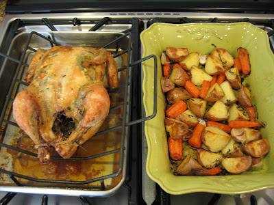 Whole Roasted Chicken with Chardonnay-Tarragon Sauce, Roasted Potatoes and Carrots