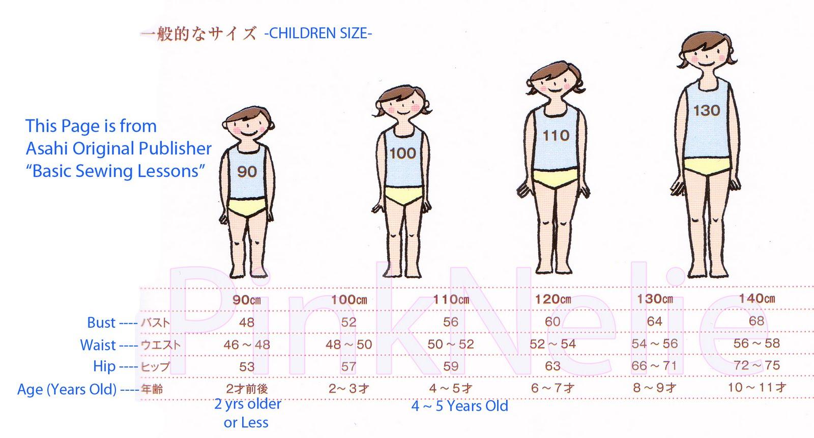 Japanese   children size chart also pinknelie rh pinkneliespot