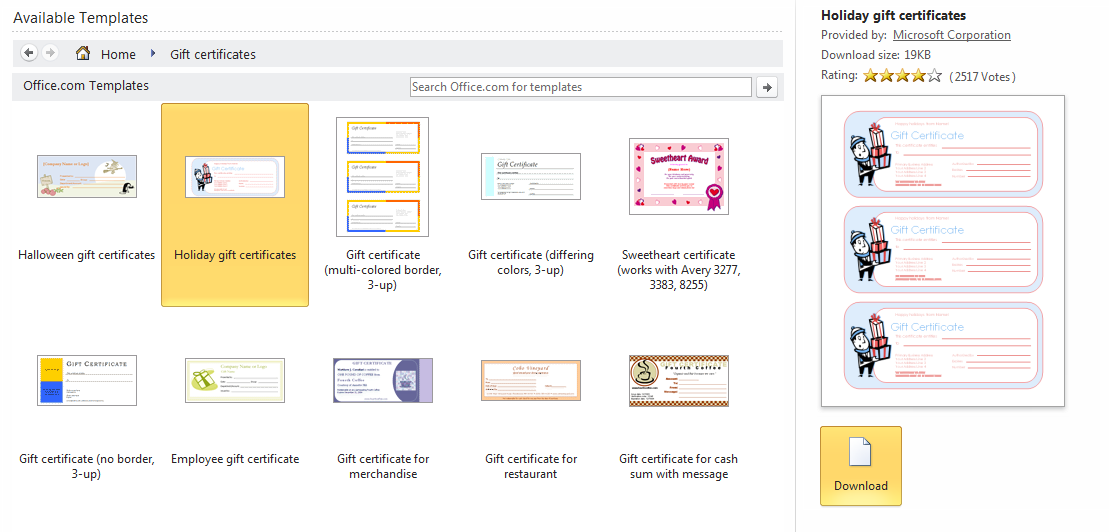 Free Gift Certificate Templates For Word