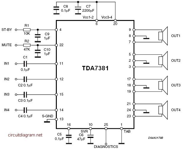Quad Audio Amplifier Circuit diagram with TDA7831 4×25W