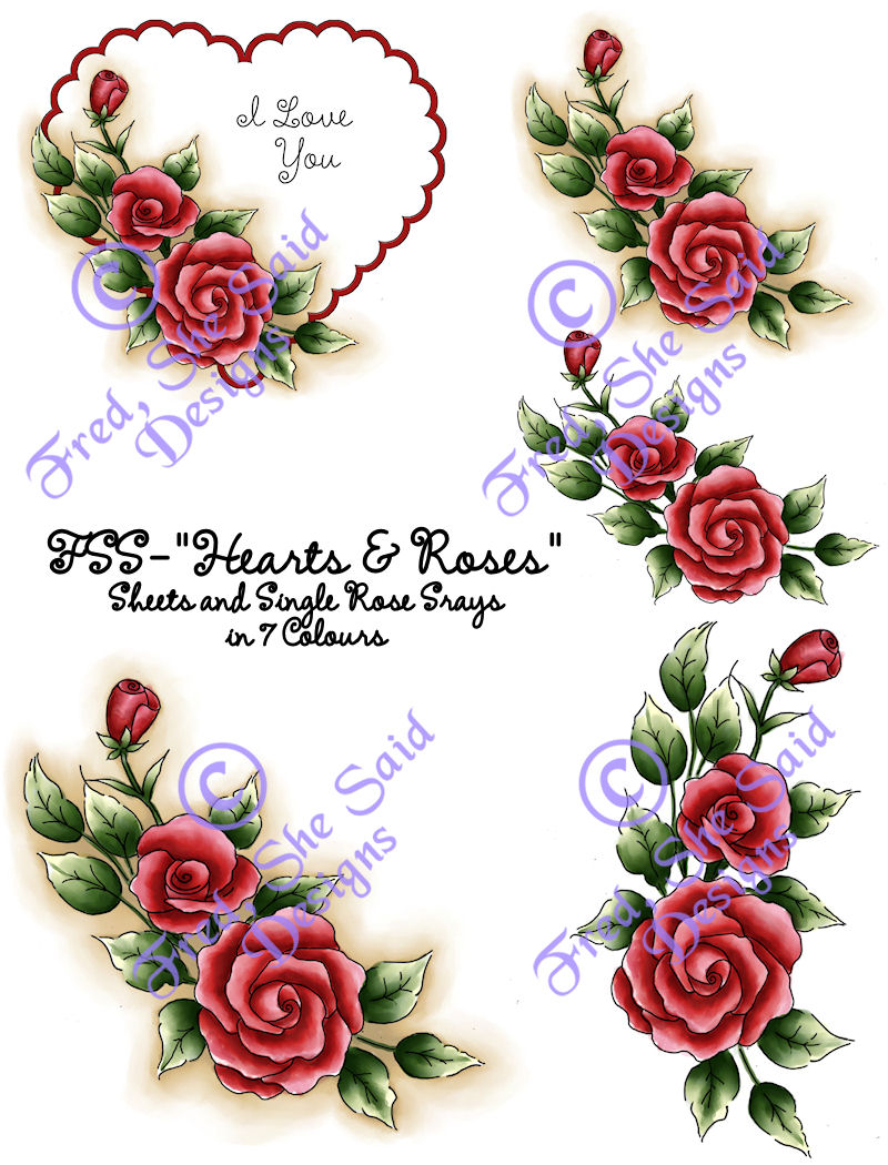 Fred she said digital design papercrafting goodness - Pics of roses and hearts ...