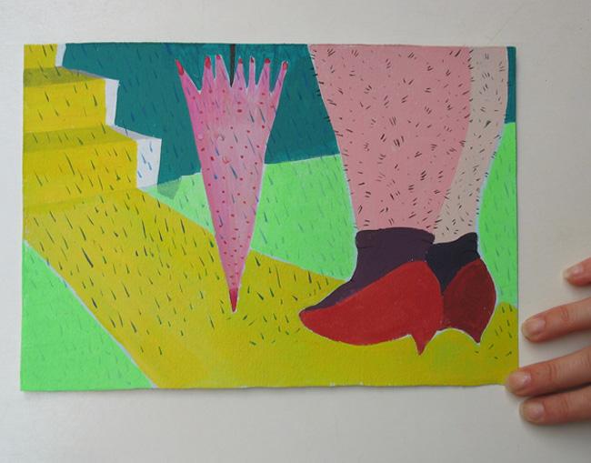 zapatos rojos y piernas peludas