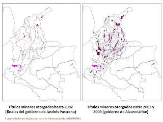 Mapa de Títulos mineros antes y despues de Uribe 2002 a 2009