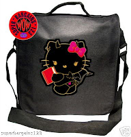 BLACK RECORD/MESSENGER/LAPTOP BAG#DEVIL HELLO KITTY#B53