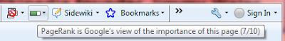 Google 工具列的 PageRank 按鈕