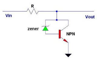 12V to 5V DC converter using Zener diode and transistor