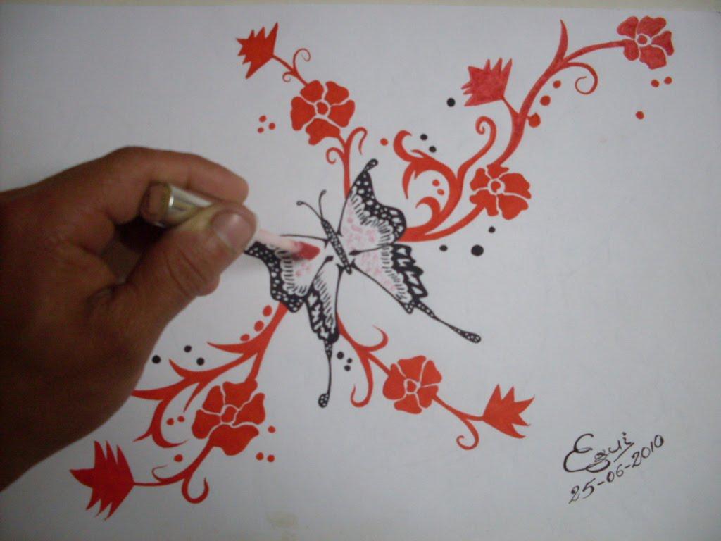 Dibujando Una Mariposa Decorado Con on Dibujos De Corazon Es Para Colorear