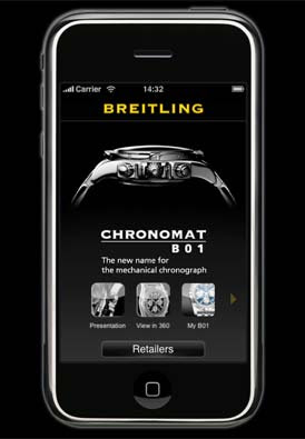 application iPhone montre Breitling Chronomat B01