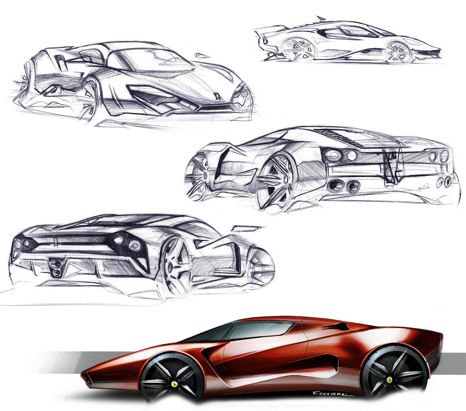 Ferrari J50 Design Sketches - Car Body Design |Ferrari Design Sketches
