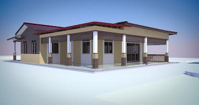 Ubahsuai Rekabentuk Rumah Kampung Asal Yang Berkaki Diturunkan Kebawah