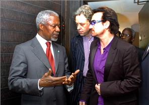 Bono, Bob Geldof, and Kofi Annan