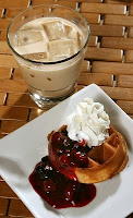 Belgian Waffles with Berry Compote and Whipped Cream Belgium 1
