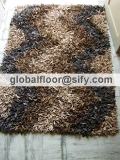leather designer shaggy rugs
