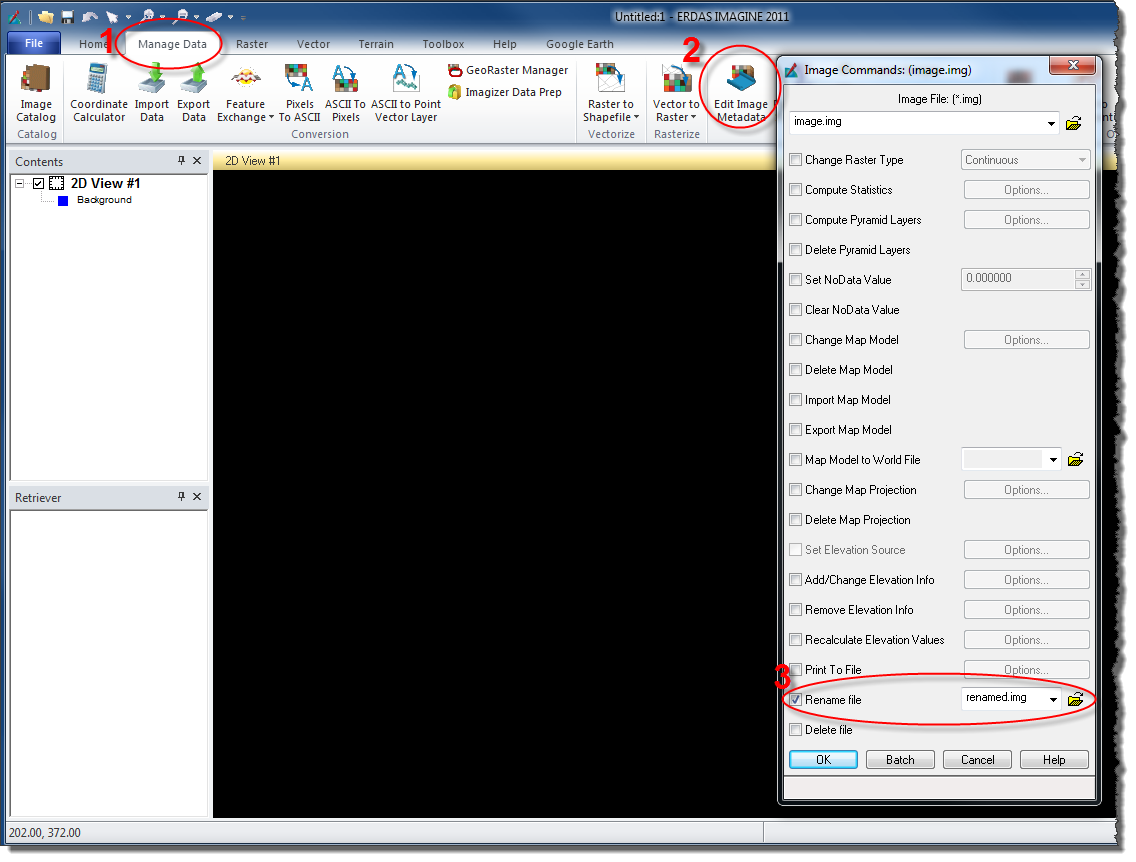 The screen capture below shows how to rename a raster using ERDAS IMAGINE  2011.