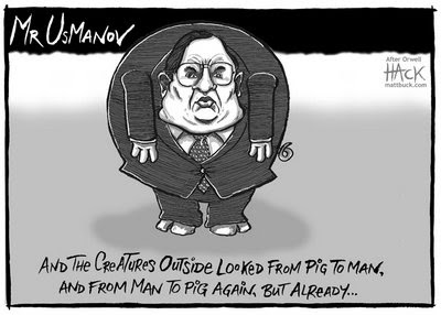 usmanov cartoon- and the creatures outside looked from pig to man and from man to pig again but already ..