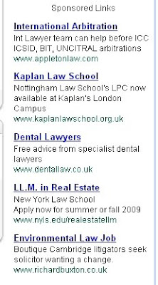 gmail text ad showing legal firms