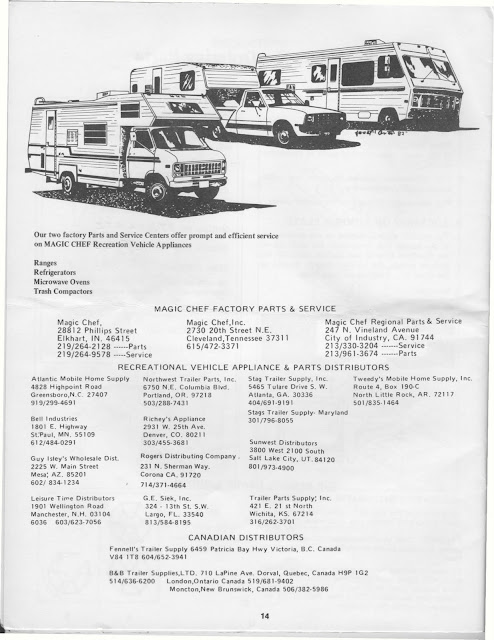 1983 Fleetwood Pace Arrow Owners Manuals  Magic Chef    RV