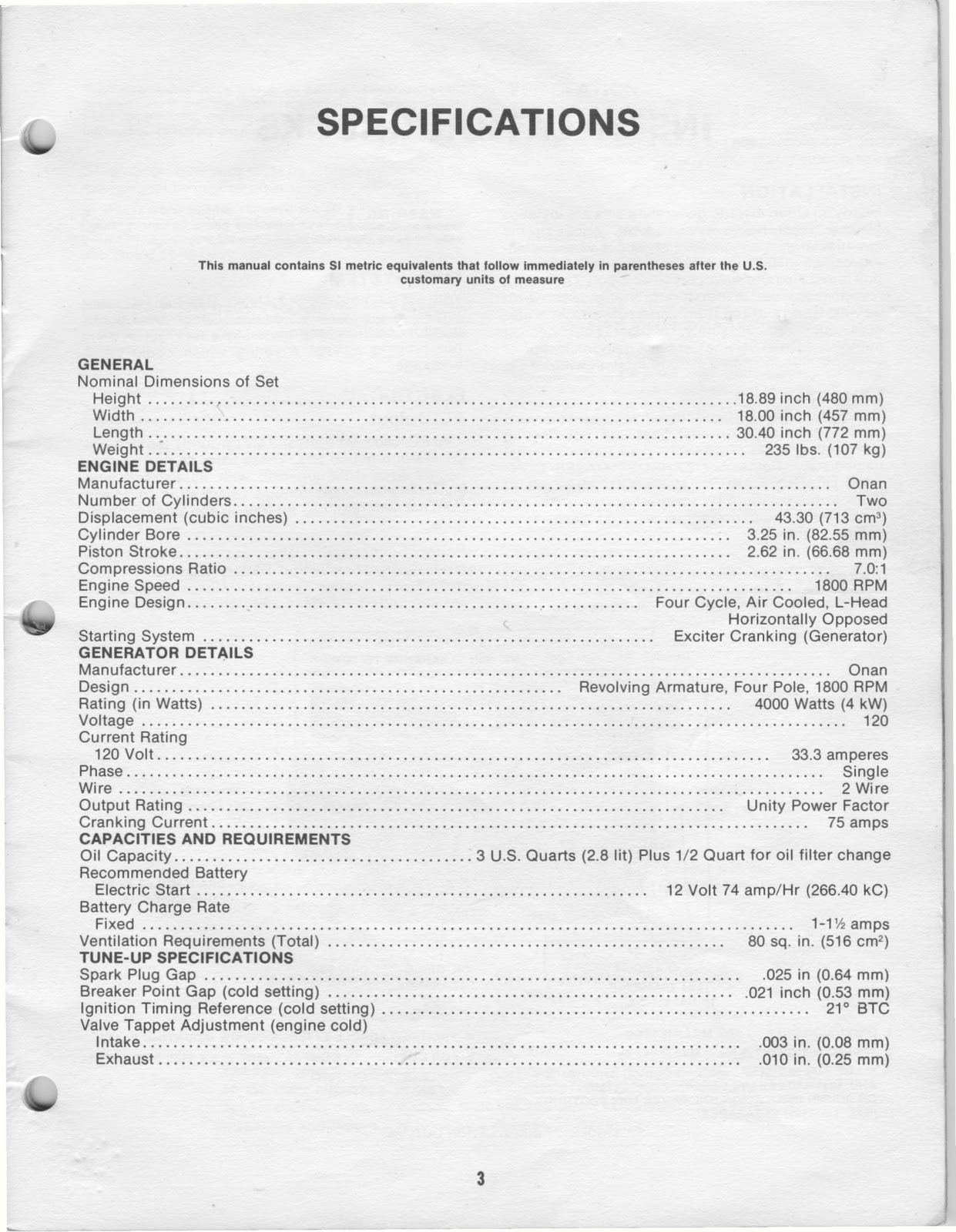 Onan generator Manual 1983 on