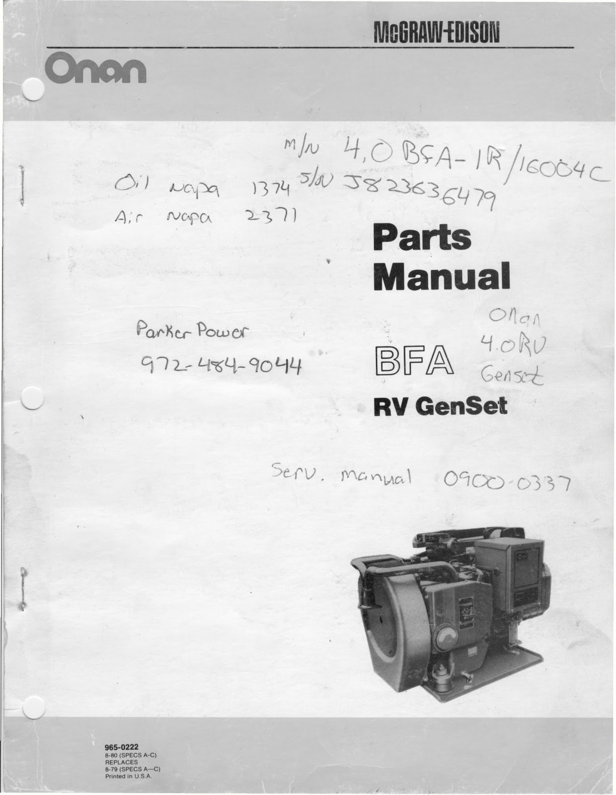 1983 Fleetwood Pace Arrow Owners Manuals Onan Bfa Rv Genset Parts Camera Wiring Diagram Manual
