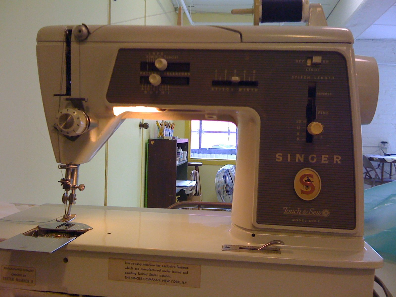 I am so glad I took pictures of this machine when my student brought it to  class last year! The Singer Touch and Sew was introduced in 1965.