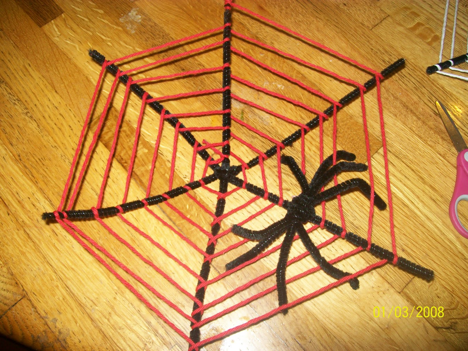 Halloween Pipe Cleaner Spider Web Craft