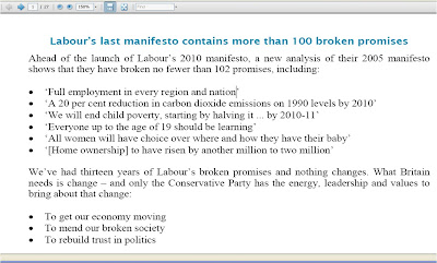 Labours broken promises UK election 2010