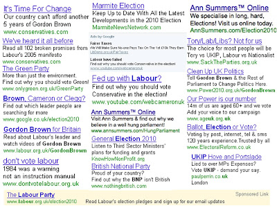 UK election Search ads PPC 2010