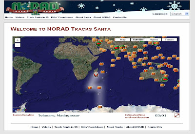 NORAD interactive Santa tracking