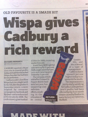 Wispa star performer for Cadbury
