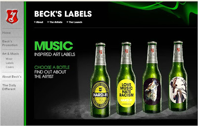 Becks music inspired labels bottles