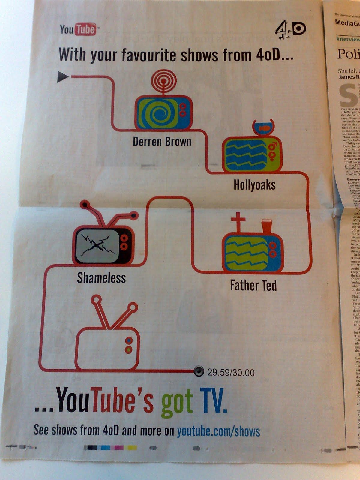 YouTube print ad in Guardian newspaper PHOTO