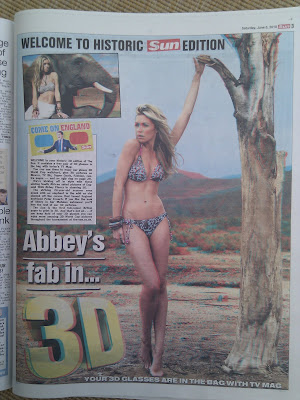 The Sun newspaper 3D page 3 with Abbey Clancy