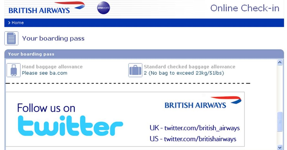 british airways promote twitter account on boarding passes
