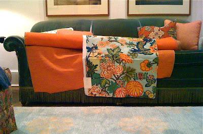 Schumacher dragon fabric orange fabric samples